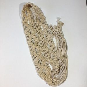 Vintage Macrame Tie Belt with Fringe Hippie Boho